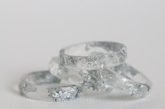 thin multifaceted eco resin ring - clear with silver flakes - size 7.5