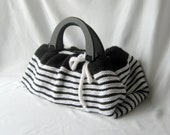 Large Black and White Purse, lined, 6 pockets, Ready to Ship, OOAK