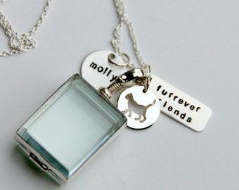 Glass Locket Dog Cat Lover Jewelry, Glass Locket, Dog, Furrever Friends Cat, Lolcat, Paw, Cat Lover Gift, Memory Locket, Loss Of Cat Dog,