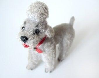Flocked poodle dog figure, Wagner Handwork, Kunstlerschutz, fuzzy gray french poodle, vintage 1960s, handmade West Germany, Christmas decor