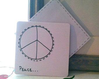 """CARDS BLANK EMBROIDERED Set of 6 """"Peace"""""""