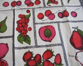 Luther incognito in pink and red. Vtg linen kitchen towel, MWT. Excellent condition.