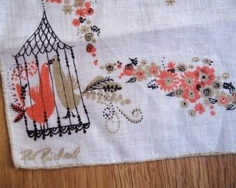 Prichard lovebirds. Vtg Pat Prichard signed hanky, hankie, handkerchief. Great vintage condition.