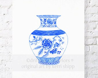 China Blue Chinoiserie Vase Print - Blue Ginger Jar Print - Blue China Watercolor Print