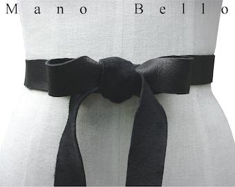 Soft Leather Bow Belt,  Black Leather Ribbon Tie on  Belt , Wedding Dress Sash, Xsmall small  medium large, custom made