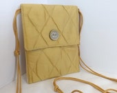 Gold Silk Travel Pouch, Passport Purse, Quilted, Cross Body Strap