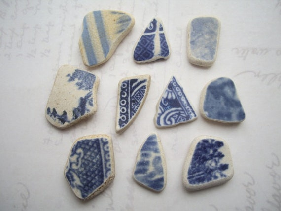 North Sea Blue Vintage Pattern Small Pottery Pieces SP859
