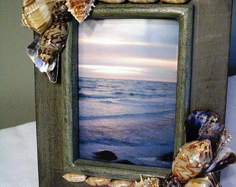 Photo Picture Frame Seashells Swarovski Crystals 5x7 Green Gray Shabby Chic Beach Wedding Cottage Decor Ocean Lover OOAK