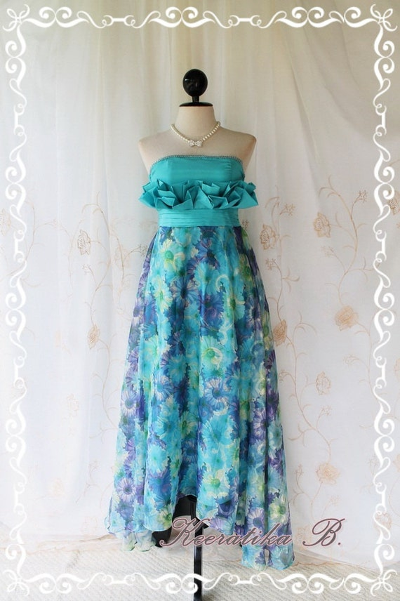 She's The Prom Queen - Gorgeous Beautiful Prom Dress Gown Length Aqua Blue Top Crystal Bead Attached Sparkle Floral Organza Fabrics
