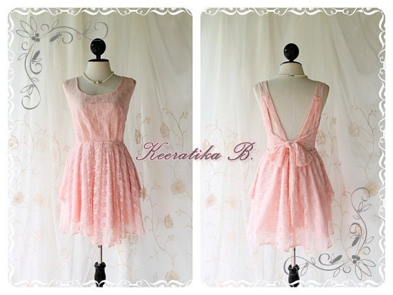 A Party - V Shape Style - Cocktail Prom Party Dinner Wedding Night Dress Peachy Pink Toned Lined Deep Back Bow Tie Special Lace Version