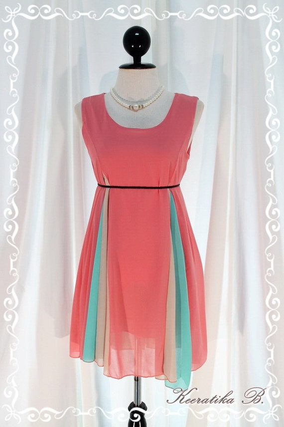 My Boo - Three Tone Simply Sundress Cerise Pink Minty And Cream Tone Wedding Cocktail Party Mini Dress XS-S