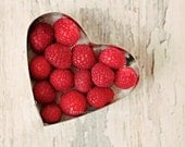 Raspberry Heart - 8x10 Fine Art Photography, food photography, raspberries, fruit, red, heart, kitchen art, berries, sweet,  dessert, fpoe - kimfearheiley