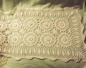 Beautiful Vintage Handmade Long Table Runner White Cotton Wheel Pattern Crocheted