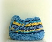 Rag bag - crochet hand bag in lovely blue and yellow fabric yarn