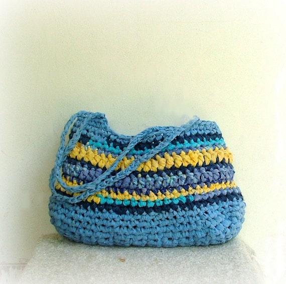 Rag bag - crochet hand bag in lovely blue and yellow fabric yarn