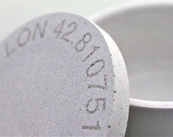 Concrete Salt Cellar. Engraved Concrete Salt Cellar. Personalized Salt Keeper