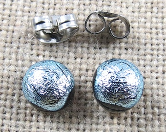 "Tiny Dichroic Post Earrings - 1/4"" 6mm 7mm - Silver Pewter Platinum Metallic Fused Glass Lolly Pop Stud Studs Dot Posts"