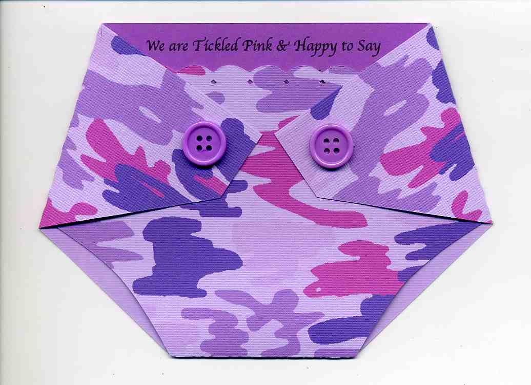 purple camo diaper shaped baby shower invitations