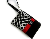 iPhone Cell Phone Wristlet Bag Case, Samsung Phone Zippered Gadget Pouch, Black and White Circles with Red Accent