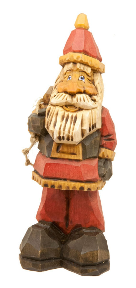 Hand Carved Wooden Santa in Traditional Red Coat and Hat, Black Belt Holding a Sack