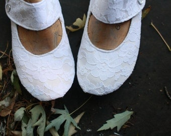 Your Size & Fabric, Urban Wedding Shoes, with Recycled Rubber Soles, and curved Mary Jane Strap