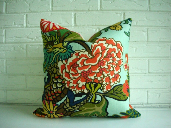 "Chiang Mai Dragon - Schumacher - Decorative Designer Pillow Cover - Aquamarine Orange Coral Green Floral - Hollywood Regency Oriental 18"""