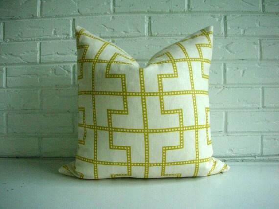 "Decorative Pillow Cover - Throw Cushion - Schumacher Celerie Kemble Bleeker in Absinthe - Citrine Yellow Ivory - Modern Lattice Trellis 20"""