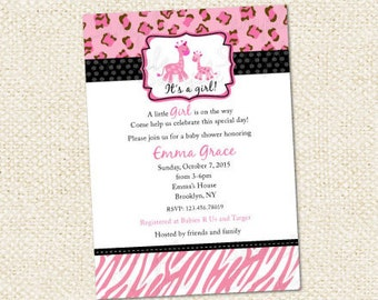 Pink Safari Baby Shower Invitations