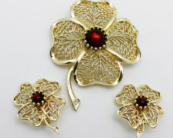 Vintage Emmons Brooch and Earring Set Signed Gold and Red