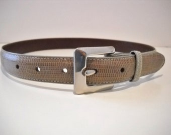 Vintage Authentic Coach Lizard Belt with Silver Buckle