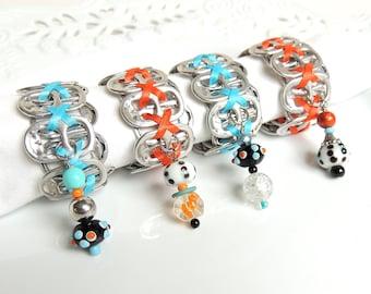 Beaded Soda Tab NAPKIN RINGS - Turquoise and Tangerine - Set of 4 - turquoise, orange, black - upcycled/recycled - gifts under 20.00