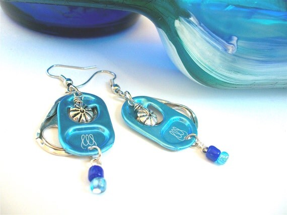 Energy Drink Pull Tab Earrings - Bubbly - turquoise and blue - soda pop tabs - upcycled/recycled jewelry - gifts under 15.00