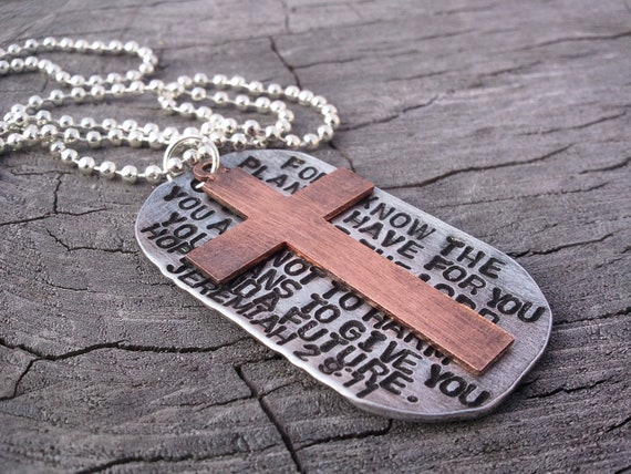 Mens Dog Tag Bible verse necklace..with copper cross..Jeremiah 29 11  OR custom bible verse..Hand Stamped..stainless steel ball chain