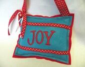 Turquoise and Red/White Dot JOY Felt Christmas Ornament or Door Hanger