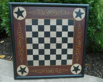 """19"""" x 19"""", Checkerboard, Checkers, Game Board, Game, Primitive, Wood, Game Boards, Folk Art, Hand Painted, Wooden"""