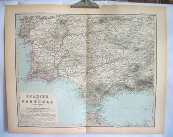 Antique 19th Century Map of Spain and Portugal