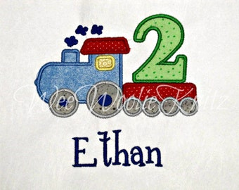 Boys Train Birthday T Shirt Bib Personalized Applique 1st 2nd 3rd 4th