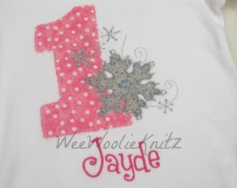 Girls Birthday Onederland T Shirt  or Bib Personalized Snowflakes Wonderland First Birthday Any Number Applique