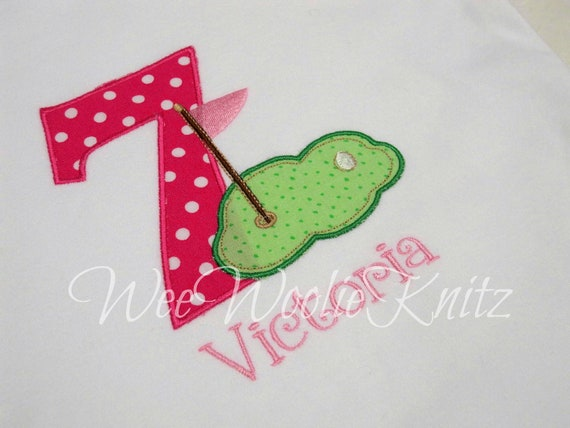 Girls Birthday T Shirt  Golf Green Personalized Applique Any Number You Design Boys