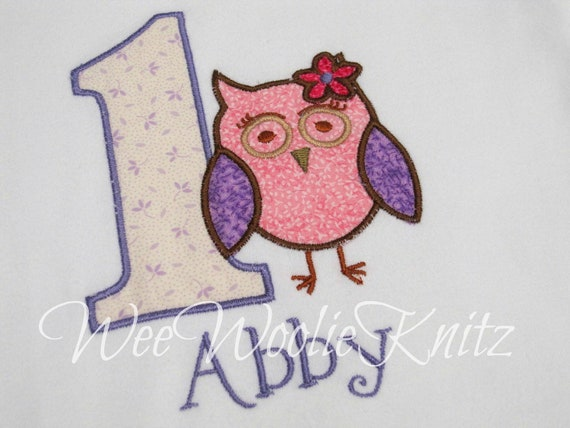Owl Birthday T Shirt or Bib Girls Personalized Applique Any Number First Birthday