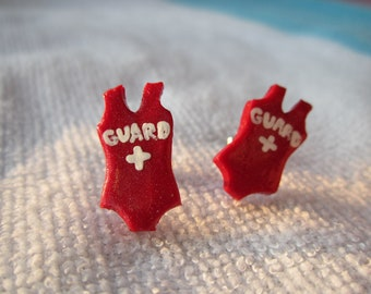 Polymer Clay Red Lifeguard Swimsuit Earrings