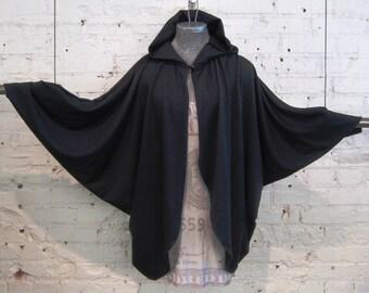 ROJAS  cape hoodie..hoody capes wings jacket updated hooded sweatshirt. jackets hoody sweatshirt black cape cloak hood coat holloween witch