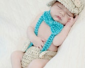 Little Man Suit in Wheat and Aqua Blue with Matching Diaper Cover, Suspenders and Bow Tie Available in 3 Sizes- MADE TO ORDER