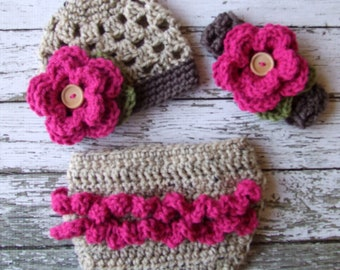 The Sofia Flower Beanie in Oatmeal, Raspberry and Taupe with Matching Diaper Cover and Headband In Newborn to 24 Months Size- MADE TO ORDER