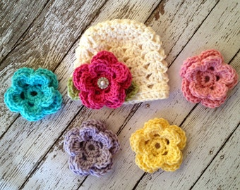 The Ashlee Beanie in Ecru with Five Interchangeable Flowers Available in Newborn to Tween Size- MADE TO ORDER