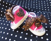 Blinged Out Infant Crib Shoes Hot Pink and Cheetah