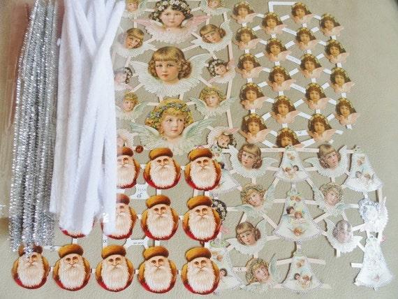 Victorian Design, Christmas Cherubs, Angels, Father Christmas, Paper Ephemera, Scrapbook, Ornament Craft