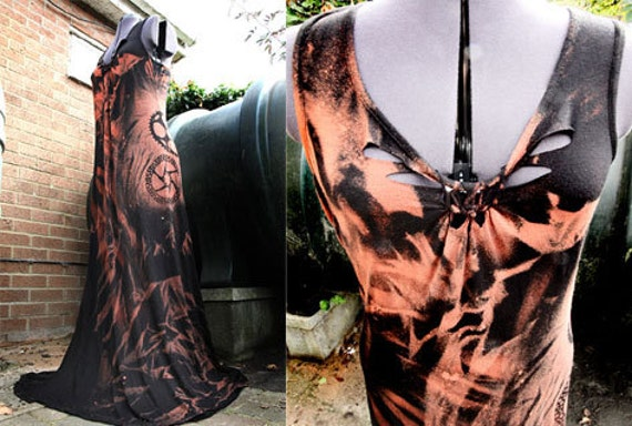 Post Apocalyptic Zombie Gears Goth Steampunk Maxi Dress Shredded Wasteland Weekend