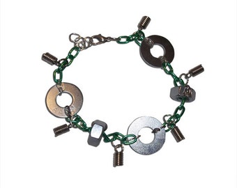 Green Chainlink with Washers Bracelet