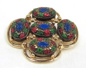 "Collector Piece Mint Vintage Sarah Coventry ""Light of the East"" Multi Colored Enameled Glass Brooch"